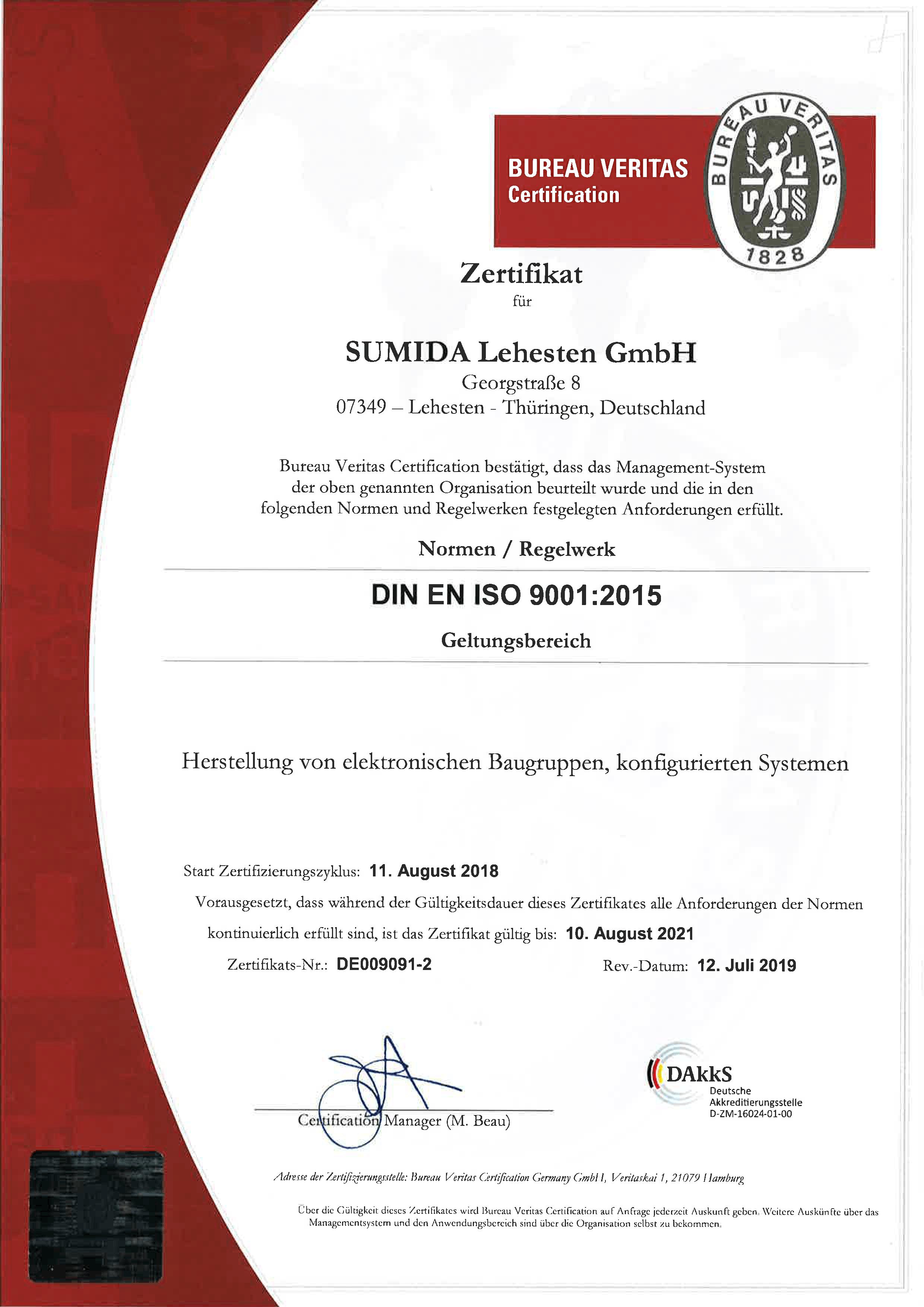 Zertifikat ISO 9001 SUMIDA Lehesten GmbH RA 2018 DE009081 1 DE Rev