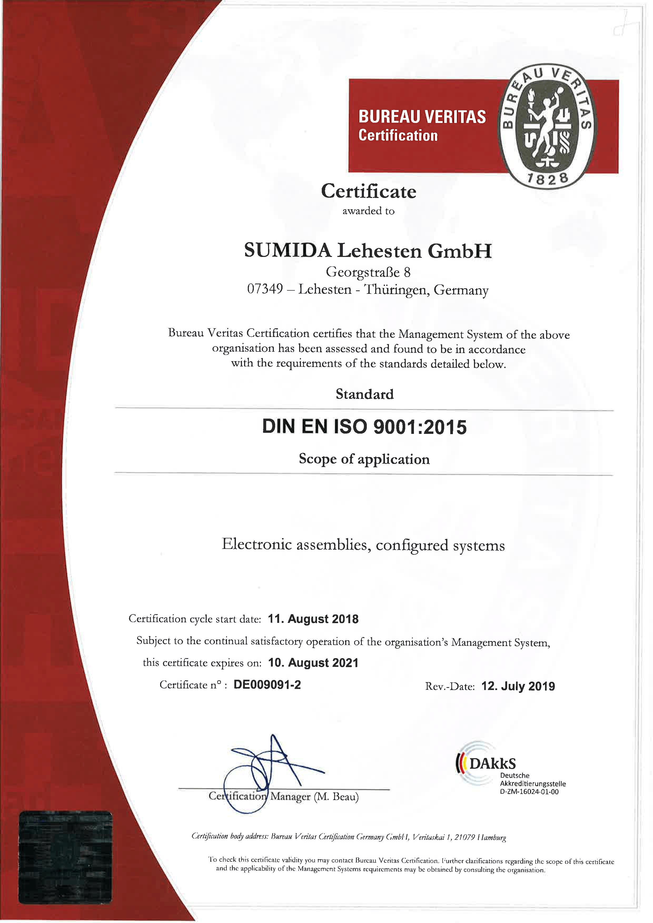 Zertifikat ISO 9001 SUMIDA Lehesten GmbH RA 2018 DE009081 1 EN Rev